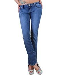 BD Damen Jeans Bootcut Hose in Dunkelblau mit Waschung