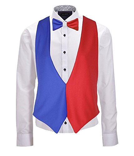 Kostüm Frankreich - French Flag Backless Waistcoat & Bow Tie Set France 6 Nations Rugby Accessory[L/XL]