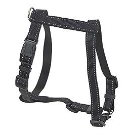 CHAPUIS SELLERIE SLA335 Pettorina Regolabile Riflettente per Cani – Collare Rinforzato in Nylon Nero – Larghezza 20 mm – Dimensioni 40-60 cm – Misura M