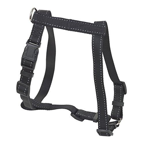 CHAPUIS SELLERIE SLA335 Pettorina regolabile riflettente per cani - Collare rinforzato in nylon nero - Larghezza 20 mm - Dimensioni 40-60 cm - Misura M