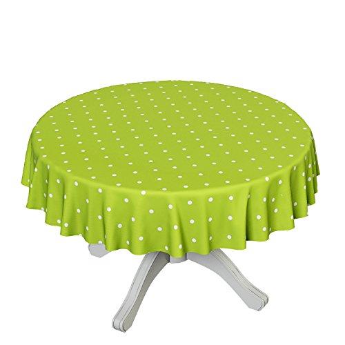 Wachstischdecke Wachstuch Tischdecke abwaschbar Punkte Tupfen in Hellgrün Rund 100cm