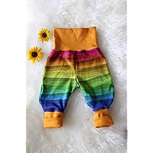 Baby Pumphose Schlupfhose newborn Gr. 56-68 Stripes Regenbogen