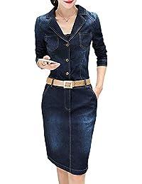 64dd4b848 Vestido De Mezclilla Mujeres Las De La hasta Rodilla Mode De Marca Vestidos  Casuales De Moda Vintage Elegante…