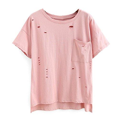 WOCACHI Damen Sommer T-Shirts Frauen loose Kurzarm O-Neck T-Shirt Holes Casual Bluse Rosa (L, Rosa)