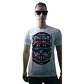 SRAZDA Tee-Shirt Blanc Homme - Coupe Ajustée - Manches Courtes - Dessin Devant Style British et écriture dans Le Dos (Velours Noir et Rouge/pailleté Bleu)
