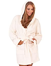 Womens Luxury Corel Soft Snuggle Hooded Short Bath Robe Dressing Gown  Housecoat With Belt Ladies… 6e147167a