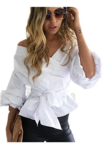 CV-cou Puff Sleeve Bowknot chemise femme white