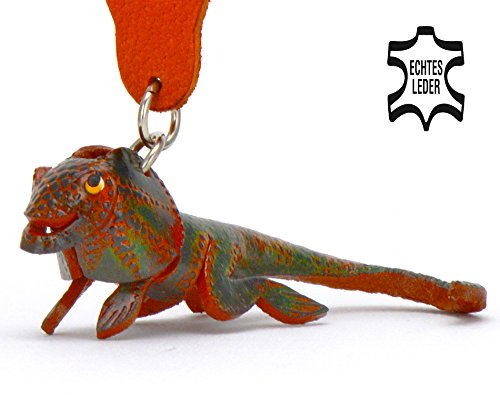 Leguan Lucas - Spielzeug Schlüsselanhänger Figur aus Leder in der Kategorie Plüschtier / plüsch von Monkimau in braun - Dein bester Freund. Immer dabei! - 5x2x4cm LxBxH klein, jeweils 1 Stück