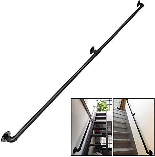 FXPCQC Industrie treppenhandlauf Wandhalterung Handläufe für behinderte ältere Kinder im Außenbereich Innentreppen Stufen Treppen Außengeländerhalterungen Kit,schwarz