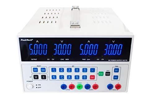PeakTech 6075 - Linear geregeltes Netzgerät mit 2 Ausgängen & USB, Doppel Labornetzgerät 0-30V / 0-5A, Gleichspannungsquelle, Programmierbar, Kurzschlussfest
