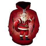 Xmiral Hoodies Herren Weihnachten Pullover Schneemann-Weihnachtsmann 3D gedruckte langärmelige mit Kapuze (3XL,Rot)