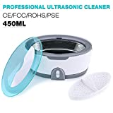Ultraschallreiniger Reinigungsgerät, GT SONIC 450ml Ultrasonic Cleaner Reiniger Edelstahl Ultraschallbad mit Uhrenhalter und Reinigungskorb 35W für Zahnersatz Brillen Schmuck Wasserdicht Uhren