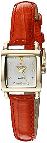 Peugeot Women's 14K Gold Plated Small Square Skinny Coral Glossy Leather Dress Watch 3034RD