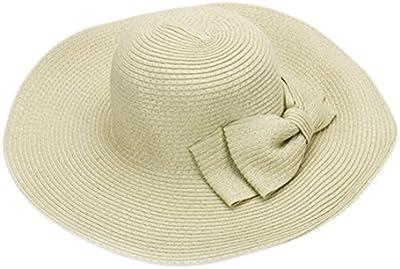 Un elegante señoras niñas sombrero de paja sol visera playa de ala ancha gorras sombreros con un bonito lazo para verano