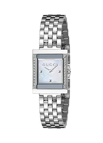 Gucci  YA128405 - Reloj de cuarzo para mujer, con correa de acero inoxidable, color plateado