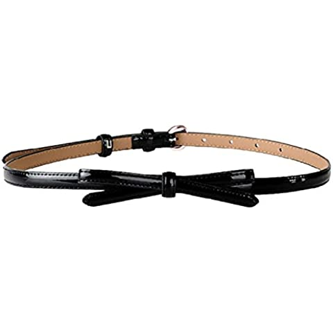 Mine Tom Mujer Chicas Moda Patentar Cuero Cinturón Con Ajustable Bowknot Colgante Cintura Cinturón Dulce