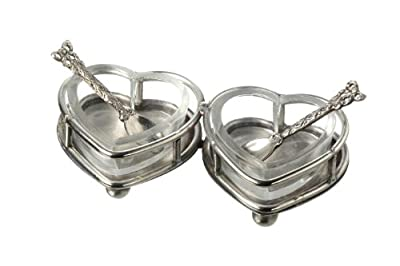 Set Of Two Salt & Pepper Sets / Pinch Pots With Spoons - Vintage Inspired from Parlane International
