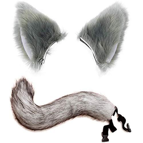 Pelz Katze Kostüm - Halloween Kostüme Kunstpelz Fuchsschwanz Mit Katze Fox Pelz Ohren Haarspange Headwear für Teenager und Erwachsene