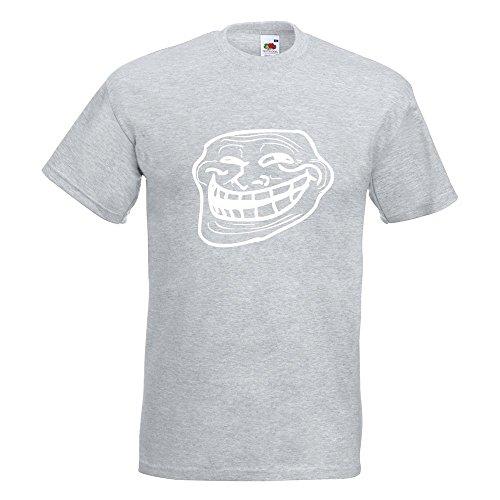 KIWISTAR - Troll Face - Coolface T-Shirt in 15 verschiedenen Farben - Herren Funshirt bedruckt Design Sprüche Spruch Motive Oberteil Baumwolle Print Größe S M L XL XXL Graumeliert