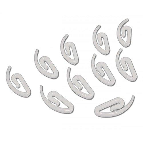 Crochets escargot en plastique blanc 25mm pour rideaux - lot de 50