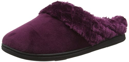 Dearfoams Velour Clog With Quilted Pile Cuff And Memory Foam, Chaussons femme Purple (Aubergine 00765)