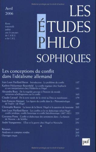Les études philosophiques, N° 2, Avril 2006 : Les conceptions du conflit dans l'idéalisme allemand