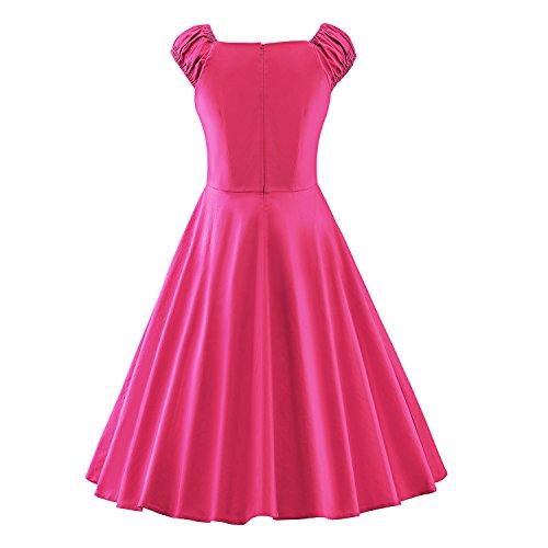 iLover 50s Rockabilly cru Audrey balancer robe de cocktail grande taille V062EU-Rose