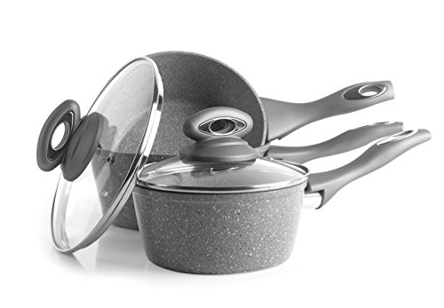 Salter BW02986G Marble Collection Forged Aluminium Non Stick 3 Piece Saucepan Set, 16/18/20 cm, Grey