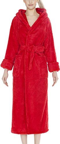 m.Lyra Damen Nachtwäsche Bademantel mit Kapuze MIA Lang (XS – 2XL) Rot