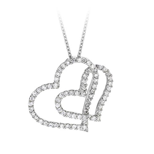 Carissima Gold Women's 18 ct White Gold 0.50 ct Diamond Double Heart Necklet of 40 cm/16 Inch