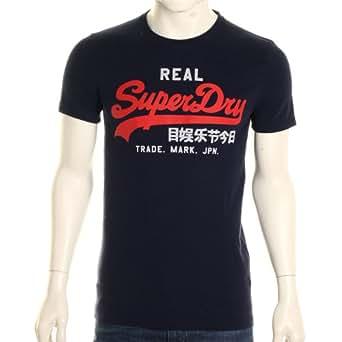 Superdry - T-Shirt Real Vintage Bleu Marine (XXL)