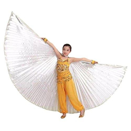 erthome Kinder Kinder Ägypten Bauchtanz Flügel Kostüm Zubehör Keine Sticks (Weiß, 100cm/39.4
