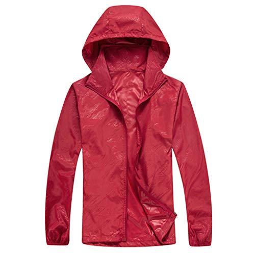 ZHANSANFM Sonnenschutzkleidung Unisex Ultradünne atmungsaktive Kleidung Radtrikot Radjacke Softshell Lightweightjacke Regenjacke upf50 uv-schutzkleidung Haut Windbreaker Outdoor (M, Rot)