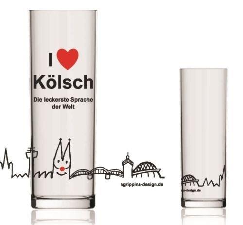 Tolles Kölschglas ~ Kölsches Grundgesetz ~ Köln Dom Glas Kölsch Stange Karneval (Modell: I love Kölsch) 2 Liter Modell