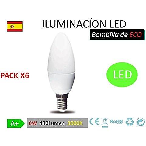 Pack 6 Bombillas LED C37 vela, 6W,(equivalente a 60W), casquillo E14, 480 lumen, luz calida 3000K(no regulable) [Clase de eficiencia energética A+]
