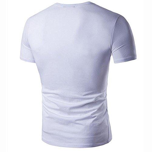 Herren-Metallschnalle mit V-Ausschnitt Baumwolle T-Shirt-Druck Buchstaben White
