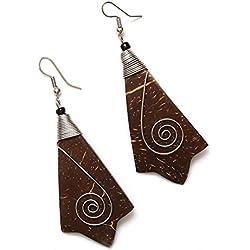 Pendientes hechos a mano - Idin marrón de madera de coco pendientes de gota con espiral (longitud: 7,5 cm)