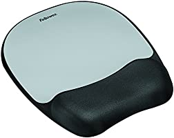 Fellowes Memory Foam Mouse Pad / Wrist Support - Silver Streak