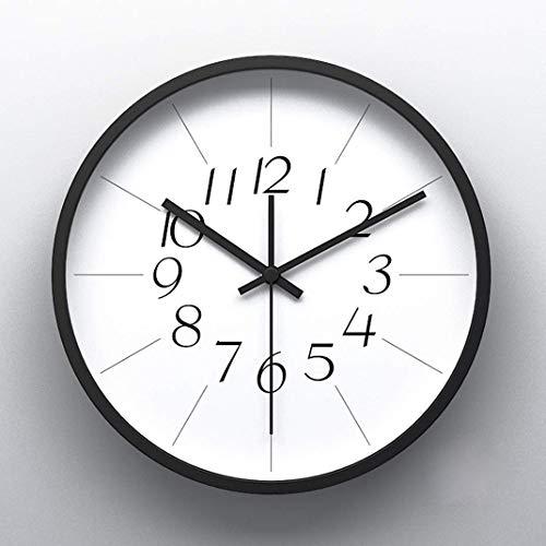 AMYZS-KK Moderne Round Metal Wall Clock, minimalistische 12-Zoll-Nicht-tickende Quiet-Uhr-Uhrenbeschichtung,Blackno.1