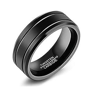 AnazoZ Ringe für Herren Wolfram Abgeschrägter Rand Hochzeit Ringe Schwarz Modeschmuck