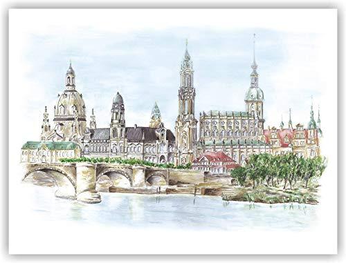 Dresden Bilder - Canalettoblick - original signierter Kunstdruck von einem handgemalten Acrylbild von Michael Richter - Dresden - Dresden Bild - Wandbild (Radierung, Bilder)