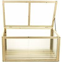 Frühbeet / Gewächshaus aus Holz mit Doppelstegplatten, Deckel fixierbar, Größe 90x 42/47x50cm