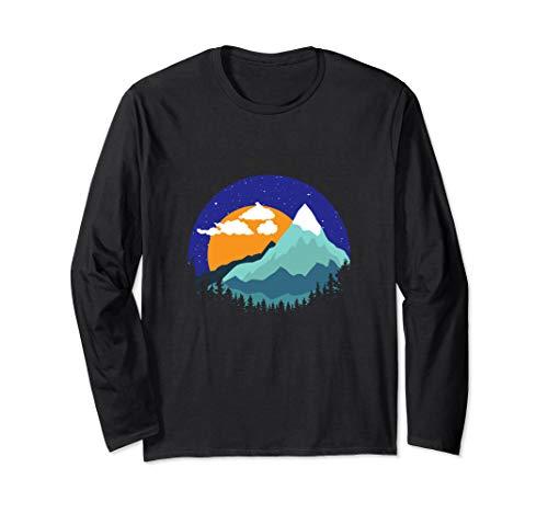 Berge Gipfel Sonnenuntergang Geschenk Langarmshirt -