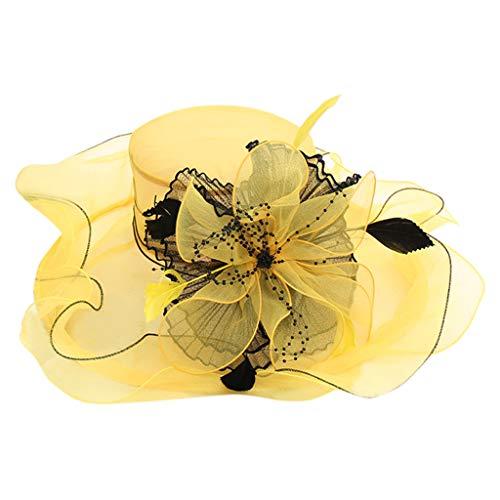 Tensay Damen Spitze Mesh Hut Organza Kirche Kentucky Derby Sommer Hut Faltbarer Elegante Blumen Organzahut Anti-UV Sonnenhüte Breite Krempe Strandhut Damenhut für Hochzeit Tea Kirche Party (Gelb)