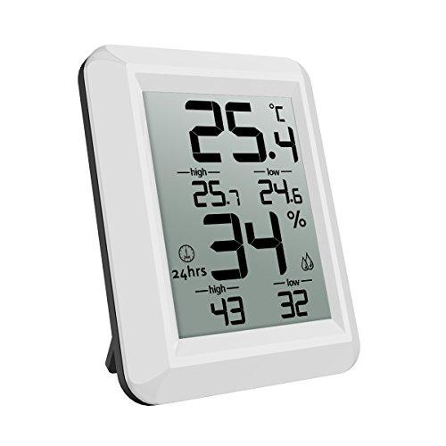 AMIR Thermomètre Hygromètre Intérieur, Thermomètre Hygromètre Digital, Moniteur de Température et d'humidité Sans Fil avec écran LCD, MIN/MAX Records,...