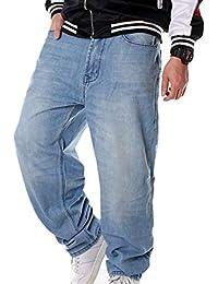 ca6b3ae84c5c8 Hombres Hip Hop Cargo Jeans de la Vendimia Sueltos Pantalones Rap Denim  Pantalones Rectos
