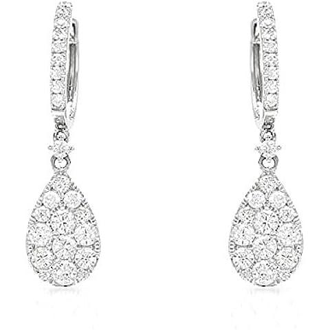 1, 10 K, Hot diamonds-Orecchini pendenti a cerchio da donna in oro bianco 18 k - Hot Diamonds Cerchio Orecchini