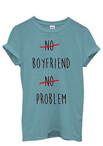 No Boyfriend No Problem Funny Men Women Damen Herren Unisex Top T Shirt Licht Blau