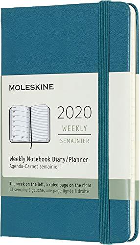 Moleskine 12 Mesi 2020 Agenda Settimanale, Copertina Rigida e Chiusura ad Elastico, Colore Verde Magnetico, Dimensione Pocket 9 x 14 cm, 144 Pagine