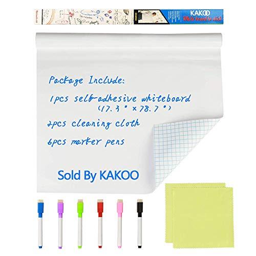 KAKOO Whiteboard Folie 44x199cm Wiederbeschreibbar selbstklebende Tafelfolie Magic Chart Weiß Wandtafel DIY Kinder Wandfolie für glatten Oberflächen in Schule Büro Haus mit 6 Markierstift - Job-chart